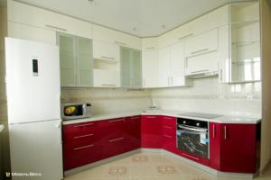 55 кухня  модерн бело-красная